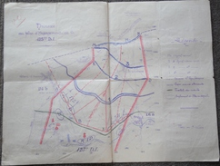Carte Annexe Au Plan D'engagement De La 125 ème DI VILLENEUVE Sur Verberie + 3 Documents Militaria - 1914-18