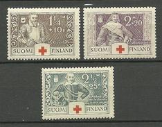 FINLAND FINNLAND 1934 Michel 184 - 186 Kriegshelden MNH - Nuovi