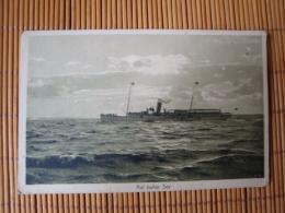 """Dampfer Vor Borkum Auf Hoher See, Stempel""""Festungs-Scheinwerferkommando"""", Gelaufen 1917 - Paquebots"""