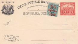 RRR! PERU 1897 - Ganzsache Mit Zusatzfrankierung Marke Mit Überdruck 1918? - Peru