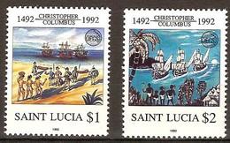 Saint Lucia Sainte Lucie 1992 Yvertn° 979-980 *** MNH Cote 6 Euro Christophe Colomb - Bateaux