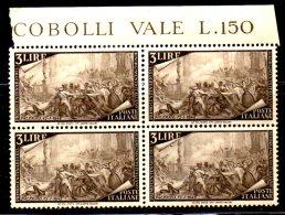 QUS32 - ITALIA 1948 , Risorgimento 3 Lire In Quartina N. 580 ***  MNH. - 6. 1946-.. Republic