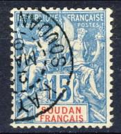 Sudan 1894 N. 8 C. 15 Azzurro Usato Catalogo € 7,50