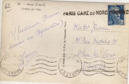 75 -  CPA  PARIS GARE DU NORD PROVINCE - SUR TIMBRE MARIANE 5 F - CPA ARRAS (62) - Mechanische Stempels (varia)