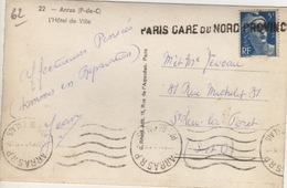 75 -  CPA  PARIS GARE DU NORD PROVINCE - SUR TIMBRE MARIANE 5 F - CPA ARRAS (62) - Marcofilie (Brieven)