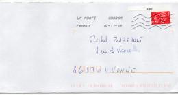 """Daté 2016--tp Adhésif De Carnet """"Marianne De Lamouche 20g Prior Avec N° Du Carnet 068  """"seul Sur Lettre -Toshiba - Storia Postale"""
