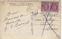 13 -  CPA UNE PAIRE  TIMBRES  NON OBLITERES MARQUAGE D'UNE CROIX FACTEUR - CPA MARSEILLE - Curiosities: 1945-49 Covers & Documents