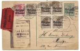 Ep 5c + 3c X5 + 10c Exprès De VERVIERS/1916 (Kairis Marchand De Timbre) Pour Liège. (commande De Miel) - WW I