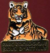 Pin's - Zoo Bois D'Attilly (Seine-et-Marne 77) - Tigre (Au Verso Multi Cadeaux) - Animaux