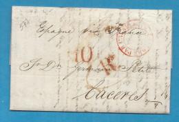 GB - Londres Pour CACERES (Espagne). Taxée 10 Réalles De Vellon. 1836. Entrée Par CALAIS - Postmark Collection (Covers)