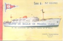 BILLETE DE PASAJE DE PRIMERA - COMPAÑIA TRANSMEDITERRANEA S.A. BARCELONA A PALMA ORIGINAL AÑO 1957 - Schiffstickets