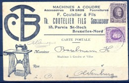 1925 , BÉLGICA , TARJETA POSTAL CIRCULADA BRUSELAS - OLDENBURG , MACHINES A COUDRE , MAQUINAS DE COSER - Bélgica