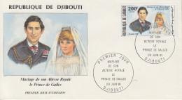 Enveloppe  FDC  1er  Jour    REPUBLIQUE   De   DJIBOUTI   Mariage  De  LADY  DI   1981 - Djibouti (1977-...)