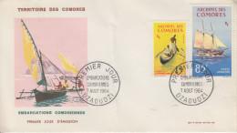 Enveloppe  FDC  1er  Jour   ARCHIPEL  Des  COMORES   Embarcations  Comoriennes   1964