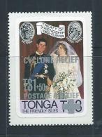 Tonga 1982 Cyclone Relief Overprint On Royal Wedding Self Adhesive Single MNH - Tonga (1970-...)
