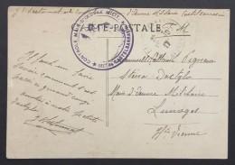 Cachet CONTROLE DE LA MAIN D'OEUVRE MILITAIRE CASTELSARRASIN Sur CP En Franchise Militaire Octobre 1917 - Postmark Collection (Covers)