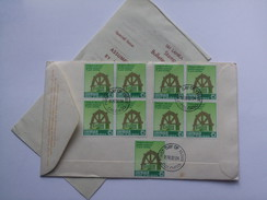 SRI LANKA MULTISTAMPED FRONT AND REAR 1978 AIR MAIL FDC COLOMBO TO JERSEY C.I.WITH STAMP BULLETIN INSERT AND LETTER - Sri Lanka (Ceylon) (1948-...)