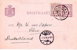1898 Bijgefrankeerde Bk Met  Grootrond DOETINCHEM Naar Cleve - Marcofilia