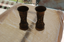 Paire De Vase Taille Dans Des Obus De 75 - 1914-18