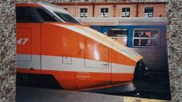 CPM TGV EN GARE D AVIGNON CLICHE JACQUES LARDIE 1990 TIRAGE LIMITE - Gares - Avec Trains