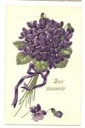Bon Souvenir - Violettes En Relief - Fêtes - Voeux