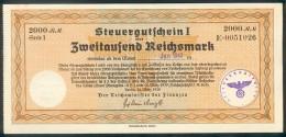 Deutschland, Germany - 2000 Reichsmark, Steuergutschein I, Ro. 720 B, 1940 ! - [ 4] 1933-1945: Derde Rijk