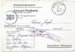 Carte De Prisonniers + Cens Des Communications 361 D'EGHEZEE/1945 -> L'Allemagne + SERVICE SUSPENDU/RETOUR A L'ENVOYEUR - Covers