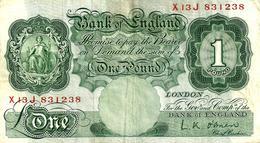 GREAT BRITAIN 1 POUND GREEN WOMAN FRONT MOTIF BACK P.363d ND(1948-60) SIGN.L. K . O'BRIEN F+ READ READ DESCRIPTION !! - …-1952 : Before Elizabeth II