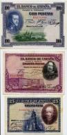 """Lot De 3 Billets """"EL BANCO DE ESPANA""""  1925 à 1928 - Espagne"""