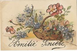 Signée E. Guillot Corbeille De Fleurs Paillettes Pailletée - Illustrateurs & Photographes