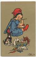 Art Card Girl Eating With Rabbits Signed Leo Hingre  Advert Chemiserie Marot 51 Rue Rochechouart Paris 9 Eme - Cartes Humoristiques