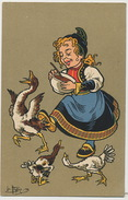 Art Card Girl Eating With Chicken Hens Signed Leo Hingre  Advert Chemiserie Marot 51 Rue Rochechouart Paris 9 Eme - Cartes Humoristiques