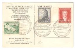 Frankfurt Am Main Württemberg, 1949, Deutsche Volksspende Für Goethes Geburtsstätte, 28-8-49 - Zone Anglo-Américaine