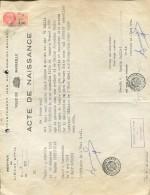 ACTE DE NAISSANCE DEPARTEMENT DES BOCCHES-DU-RHONE VILLE DE MARSEILLE 1922  ZTU.