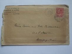 CANADA 1913 COVER WITH IGNACE ONTARIO MARK TO WINNIPEG - 1911-1935 Règne De George V