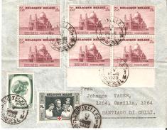 N° 476(6)-480-494 BRUXELLES 13.V.39 S/lettre AVION V/SANTIAGO De CHILI.TB Affranchissement+ - Belgien
