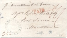 """CALCUTTA INDIA 1852 A MAURITIUS PACKET LETTER """"LEVY VALIANT"""" FULL CONTENT INSIDE SPECTACULAR AVEC TOUT LES MARQUES - ...-1852 Prephilately"""