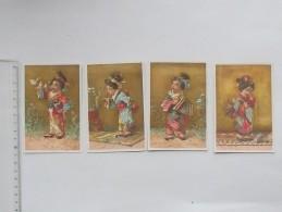 CHROMO Doré: Thème JAPONAISE Lot De 4 Même Série - Japon Kimono Musique Tabac Oiseau Chagrin - Autres