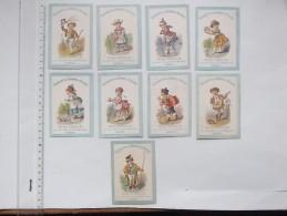 CHROMO AD GODCHAU Vêtements: Lot De 9 Différents Même Série - Patinage Sur Glace Cocher Musicien Danseuse Servante... - Trade Cards