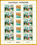Polynésie **LUXE 1983 Pa 176 A Triptyque, En  Feuille Entière De 5 Bandes Tripty       Frais D´envoi  Regroupé (forfait) - Posta Aerea