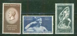 1957 - Sculpteur Antonio Canova - ITALIE - Effigie, Hercule Et Lichas, Pauline Borghèse - N° 740 à 742 * - 1946-60: Mint/hinged