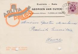 Flemalle-Haute ,carte Publicité ,Georges Van Cuyck  ,radio, électricité, Ampoule  PHILIPS  ARLITA - Flémalle