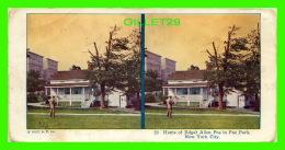 CARTES  STÉRÉOSCOPIQUES - HOME OF EDGAR ALLEN POE IN POE PARK, NEW YORK CITY - 1925, A.C. CO - - Cartes Stéréoscopiques
