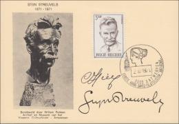 STIJN STREUVELS 1871-1971 / BORSTBEELD DOOR WILLEM PUTMAN / MAXIKAART POSTZEGEL COB 1604 / FDC STEMPEL - Lier