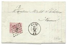 L En Double Port Affr N°20 Lpts 141 GAND/1867 Pour Namur - 1865-1866 Profil Gauche
