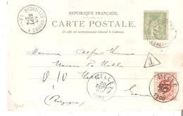 T.Tx. N° 4 MELLE 30/9/1900 + AMBt. BRUXELLES-ANVERS 1 Du 30/9 S/CP. De PARIS (Expo Avec Paillettes) Affr.5 C.SAGE - Postage Due