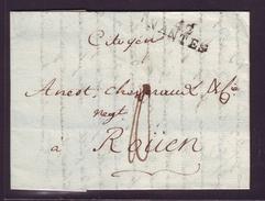 Lettre Ancienne Avec Marque Postale 42/NANTES Pour Rouen Du 29 Décembre 1797 - Marcophilie (Lettres)