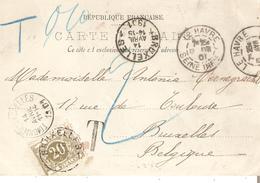 T.Tx. N° 6 De BRUXELLES 14/4/1901 + Ambt. FEIGNIES-BRUXELLES S/CP. Non Affranchie Du HAVRE. TB - Postage Due