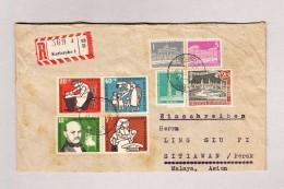 D - BRD KARLSRUHE 31.3.1957 R-Brief Nach Sitiawan Indonesien Rückseite Transit Und AK-O + Vignetten - Lettres & Documents