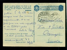 FRANCHIGIE-POSTA MILITARE N. 78  SEZ. A -PER CAMOGLI - CART. CON ESAGONO LINEE TRATTEGGIATE- FASCIO VUOTO-NON CATALOGATA - Oorlog 1939-45